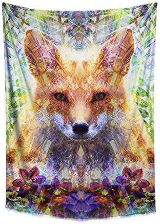 Divine Fox Tapestry- Orange Green Wall Decor- Animal Wall Art- Psychedelic Geometry Design- Bedroom, Dorm, Home Wall Hang- Premium Large Tapestry 48×72 Inches