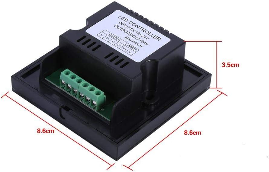 Fydun Atenuador para LED Regulable Controlador de Interruptor de Pared con atenuador de Panel t/áctil de un Solo Color Tira de luz LED DC 12V-24V Blanco