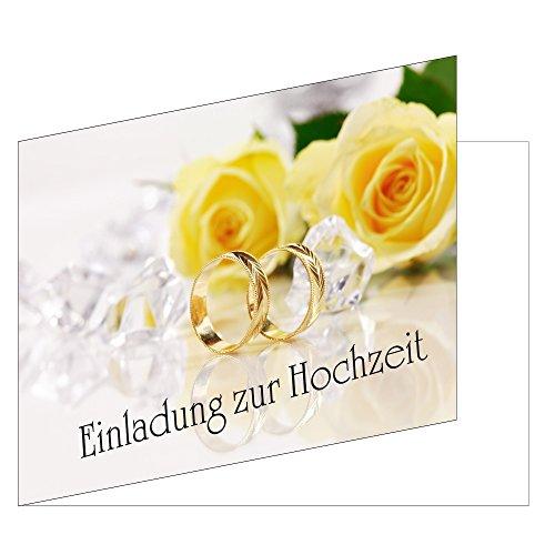 25 Stück Einladungskarten zur Hochzeit (EKT-104) Format DIN A6 - Einladungen Ringe auf gelben Rosen Trauung Feier