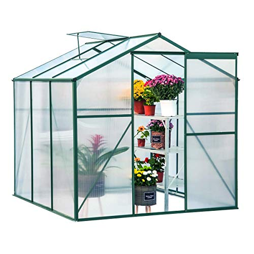 Mellcom Polycarbonate Portable Walk-in Garden Greenhouse Large Hot House with Adjustable Roof Vent and Rain Gutters,UV Protection Planting House (6'x6'x6.6′)