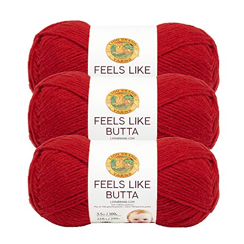 (3 Pack) Lion Brand Yarn 215-113B Feels Like Butta Yarn, Red