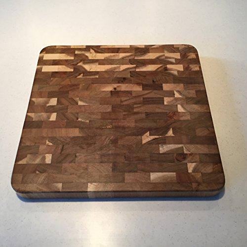Organic Acacia Wood, 14-inch by 14-inch by 1.25-inch, End Grain Cutting Board and Prep Station (Medium) Medium Prep Cutting Board