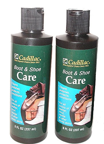 Cadillac Boot And Shoe Leather Lotion 8 Fl Oz  2 Pack    Conditions  Cleans  Restores  Protects And Polishes All Colors Of Leather   Works On Footwear  Furniture  Handbags  Jackets  Wallets And More