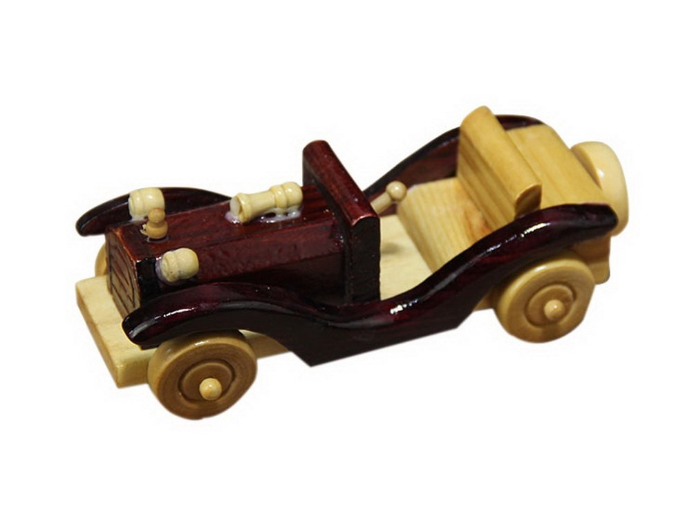 Retro Classic Solid Wood Ornaments Trumpet Small Car Model Decoration Cherry Red