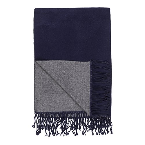 - Scarf for Men Spring Winter Cashmere Man Soft Elegant Classic Blue Navy Gray Reversible Scarves by Melifluos (Navy Gray)