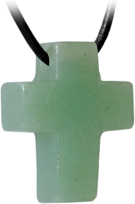 Kaltner Präsente–Regalo Idea–Cadena para Hombre y Mujer de Piel con Cruz Colgante de la Piedra aventurina