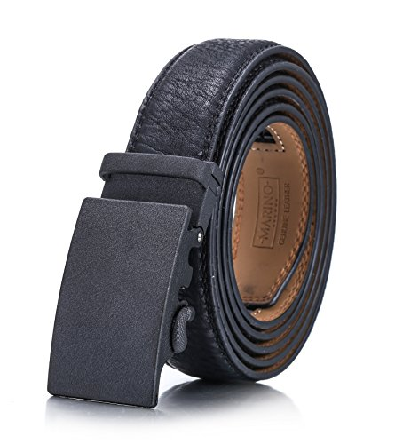 Designer Style Belt Buckle - Marino Men's Genuine Leather Ratchet Dress Belt With Automatic Buckle, Enclosed in an Elegant Gift Box - Black - Style 160 - Adjustable from 38