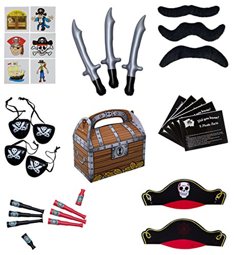 Pirate Party Supplies and Pirate Favor Toy Bundle. 252 Piece Complete Kit Featuring Pirate Themed Inflatable Swords, Tattoos, Mustaches, Eye Patches, Telescopes, Hats, and Fun Pirate Fact Card! - Pirate Themed Party Supplies