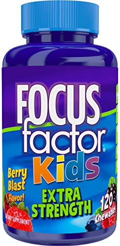 Focus Factor Kids Extra Strength Complete Vitamins: Multivitamin & Neuro Nutrients (Brain Function), Vitamin B12, C, D3, 120 Count, 60 Day -