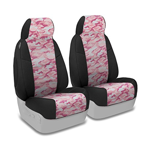 Coverking Front 50/50 Bucket Custom Fit Seat Cover for Select Isuzu Rodeo Models - Neosupreme (Traditional Pink Camo with Black Sides)