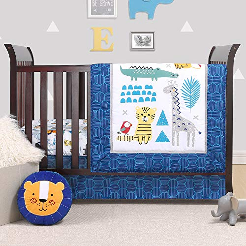 Safari Party 4 Piece Baby Crib Bedding Set - Blue Jungle Animal Theme by Belle