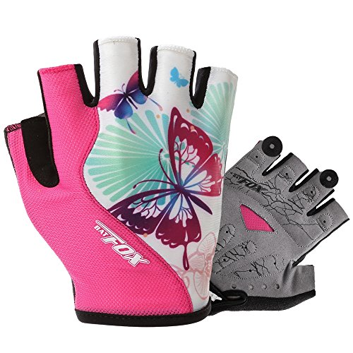 Batfox Cycling Gloves Women Half Finger Gel Padded Girls Pink Comfortable Leather Quick-pull Great Fit (539 Rose Red, L(Palm width 3.35'-3.74'))