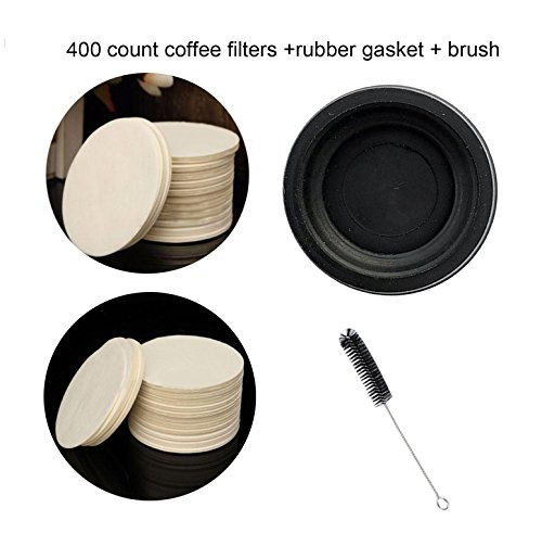 Podoy Coffee Filters Paper For Use In the AeroPress Coffee Maker Parts with Rubber Seal Plunger End Gasket Nylon Tube Brush Coffee Maker Replacement 400 Count