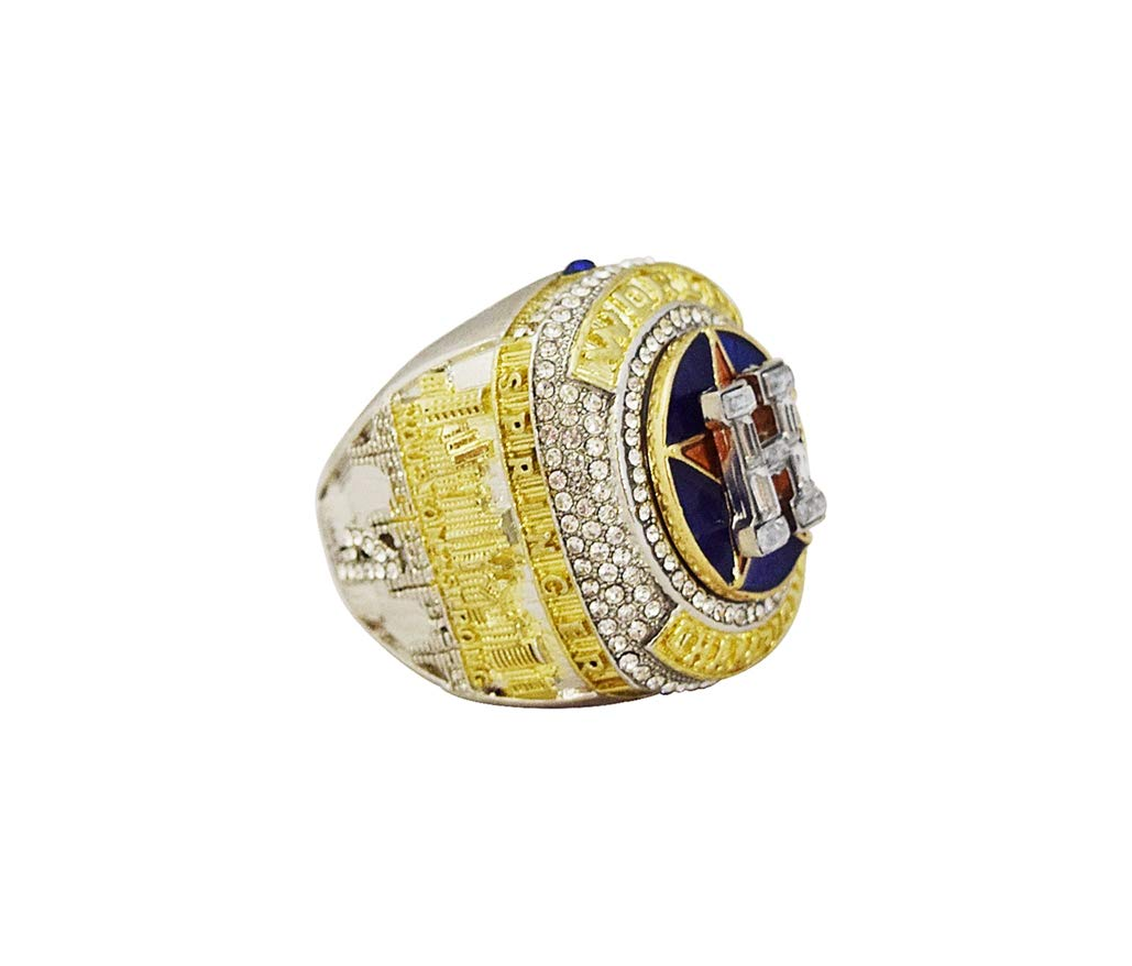 HOUSTON ASTROS (George Springer) 2017 WORLD SERIES CHAMPIONS (First Series Title) HOUSTON STRONG Collectible High Quality Replica Silver & Gold Baseball Championship Ring with Cherrywood Display Box