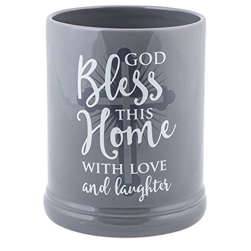 (Elanze Designs God Bless This Home with Love Grey Stoneware Electric Jar Candle)