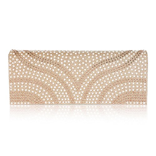Damara Womens Patterned Pearl Flap-Over Dazzling Clutch Evening - Clutch Champagne