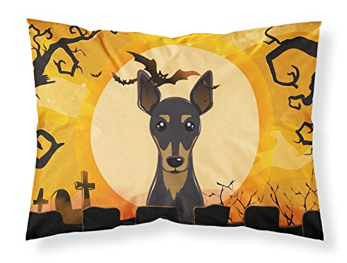 Caroline's Treasures BB1798PILLOWCASE Halloween Min Pin Fabric Standard Pillowcase, Large, Multicolor