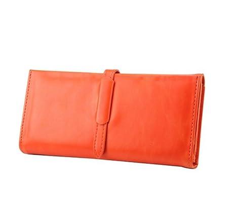 Jacentown ®moneda negro color largas de señora mujeres cartera bolso al mano triple PU de