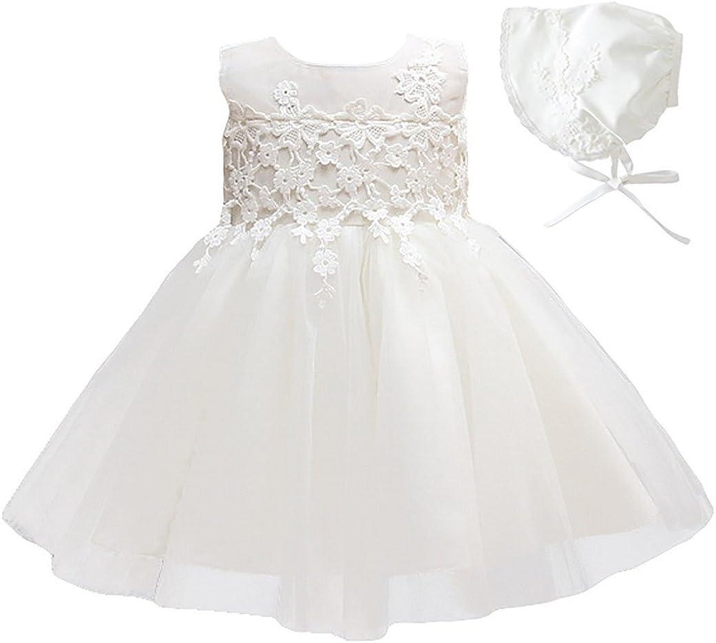 Happy Cherry (Set/ 2 Piezas Blanco Vestido de Tutú Encaje Traje de Fiesta Princesas Dress sin Mangas + Sombrero para Bebés Niñas 3 Tallas a Elegir