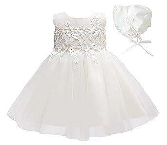 Happy Cherry (Set/ 2 Piezas) Blanco Vestido de Tutú Encaje Traje de Fiesta Princesas Dress sin Mangas + Sombrero para Bebés Niñas 3 Tallas a Elegir: ...