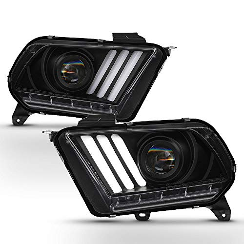 ACANII - For [HID/Xenon] 2010-2012 Ford Mustang LED Sequential Signal Tube Black Housing Projector Headlights Headlamps