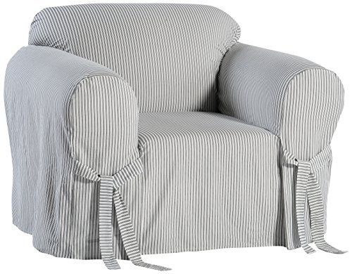 Classic Slipcovers BT30RAST One Piece Stripe Twill Chair Slipcover, Navy/White (Classic Stripe Ticking)