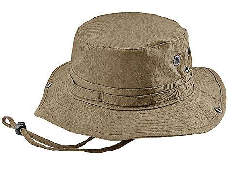 Wholesale Washed Cotton Fishing Hunting Hiking Outdoor Bucket Hat w/ Chin Cord (Khaki, Size M) - (Bucket Hat Wholesale)