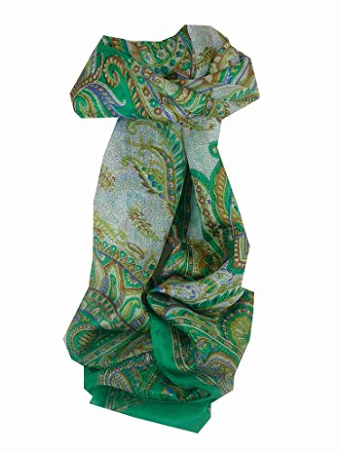 Foulard Gamme Traditional de Soie Motif Safia Green de Pashmina & Silk