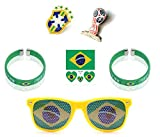 Russia World Cup 2018 Deluxe 6 pc Fan Set - Wristband x2, Sunglasses, Temporary Tattoo stickers, National Pin and World cup Pin with Bonus Keychain