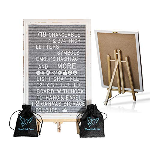 Gray Felt Letter Board With Easel Stand 12 x 16 | 718 Changeable Characters Including 1 inch and ¾ Letters, Symbols, Emojis Hashtag + More | Hook To Hang | 2x Bags (Gray W/ Antique Frame)