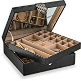 Jewelry Box - 28 Section Classic Jewelry Organizer with Modern Buckle Closure, Large Mirror & 2 Trays for Women Teens and Girls - Holder for Earring Ring Necklace Bracelet & Watch - PU Leather