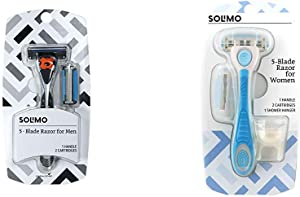 Solimo 5-Blade MotionSphere Razor for Men with Dual Lubrication and Precision Beard Trimmer, Handle & 2 Cartridges & 5-Blade Razor for Women, Handle, 2 Cartridges & Shower Hanger