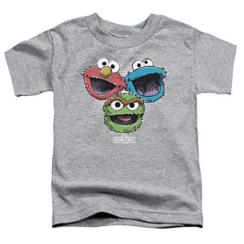 Sesame Street Toddlers Halftone Heads T-Shirt, 2T, Athletic Heather