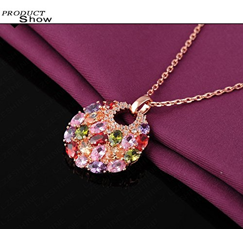 18K Rose Gold Plated Necklaces /& Pendants Micro Inlay Multicolor AAA Cubic Zircon Collares