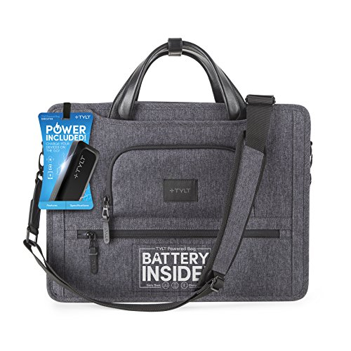 TYLT Power Bag and Charging Station - Built in 5,200 mAh Power Bank and Cable Routing Pockets for Charging Multiple Devices (Executive)