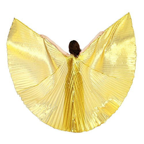 [Dance Fairy Belly Dance Isis Wings Performance Costumes,Gold] (Dance Costumes For Adults)
