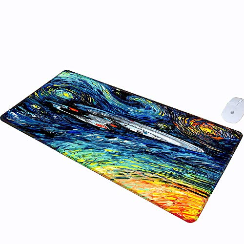Office Desk Pad Mouse Pad traditional art painting artwork Star Trek Vincent van Gogh humor The Starry Night starry night spaceship tv series colorful USS Enterprise Mousepad for PC Gaming Extended XX