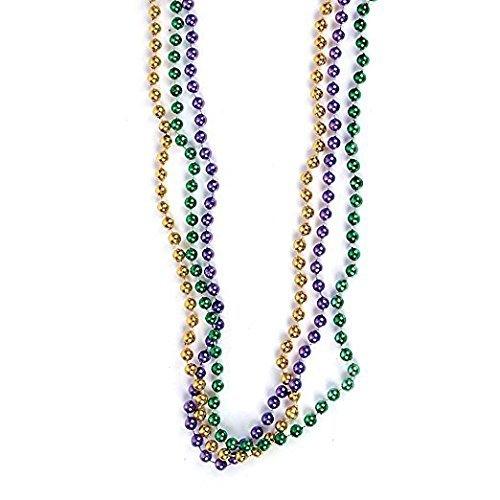 Forum Novelties 33 inch 07mm Round Metallic Purple Gold and Green Mardi Gras Beads - 12 Dozen (144 Necklaces) -