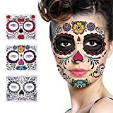 #9: 3 Pack Halloween Face Tattoo Sticker Glitter Red Roses Day of The Dead Sugar Skull Temporary Tattoo for Halloween, Masquerade and Parties