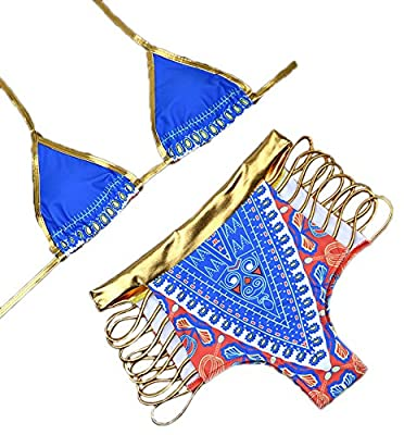 B-Sin Women's African Tribal Dashiki Metallic Cutout Padded High Waist Bikini