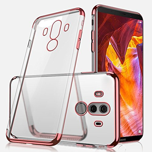 Huawei Mate 10 Pro Silicone Case,Huawei Mate 10 Pro Transparent Case Shockprrof,EUWLY Luxury Electroplating Crystal Clear Case Slim Fit Anti-shock Transparent Case Cover Silicone Soft Case Gel Rubber Rose Gold