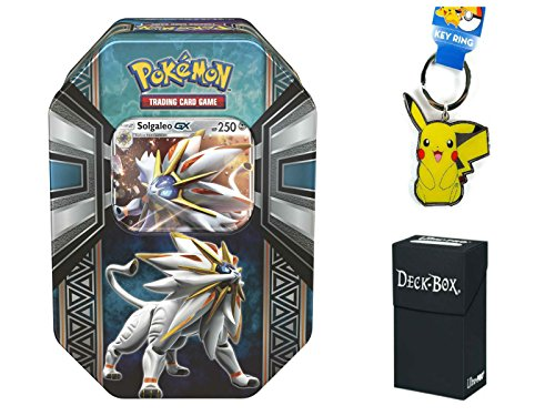 Pokemon Solgaleo GX Tin with Solgaleo GX Pokemon Card, 4 Factory Sealed Pokemon Booster Packs, Pikachu Keychain and Ultra Pro Deck Box Bundle (Mini Deck Prism)