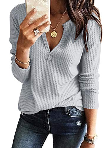 89f0924d94d7 Womens V Neck Shirts Long Sleeve Waffle Knit Loose Fitting Warm Tee Tops
