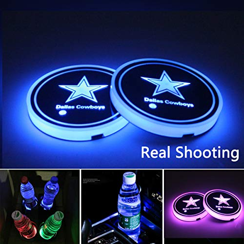 2pcs LED Car Cup Holder Lights for NFL-Dallas Cowboys, 7 Colors Changing USB Charging Mat Luminescent Cup Pad, LED Interior Atmosphere Lamp,We are More Loyal Fans