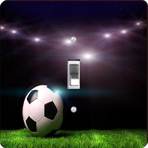 Soccer Single (Rikki Knight Soccer Ball on Black Background Design Single Toggle Light Switch Plate)