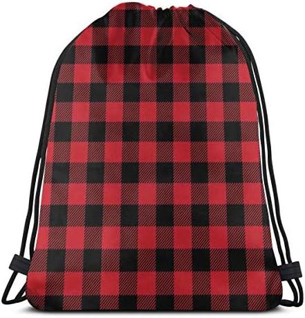 ユニセックスジムバッグ用バッファロープラッドレッドドローストリングバックパック36 x 43cm