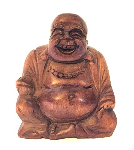 Happy Buddha Laughing Buddha Wood Carved Statue For Luck and Prosperity - OMA BRAND (3.5 in.)