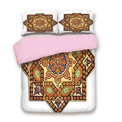 Ottoman Scalloped - Pink Duvet Cover Set,Queen Size,Vintage Floral Geometrical Pattern with Turkish Ottoman Calligraphic Art Style Old Boho Print,Decorative 3 Piece Bedding Set with 2 Pillow Sham,Best Gift For Girls Wome