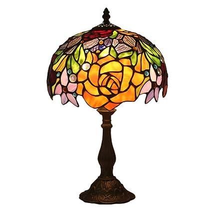 HNYD Rose Vidrio Lámpara de Mesa Estilo Tiffany Lujo Antiguo ...