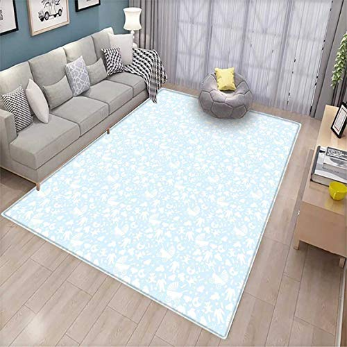 Baby Extra Large Area Rug Hearts Background with Teddy Bears
